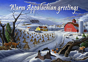 Old Barn Paintings - no3 Warm Appalachian greetings by Walt Curlee