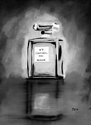 Fragrance Painting Prints - No.5 Black and White Print by Rebecca Jenkins