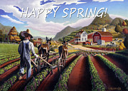 Life Greeting Cards Painting Originals - no5 Happy Spring by Walt Curlee