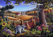 Birthday Cards Painting Originals - no6 Happy Birthday Grandma by Walt Curlee