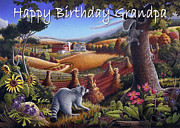 Folksy Paintings - no6 Happy BirthDay Grandpa by Walt Curlee