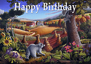 Birthday Cards Painting Originals - no6 Happy Birthday by Walt Curlee