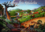 Fall Panorama Paintings - no9 Greetings from Appalachia by Walt Curlee