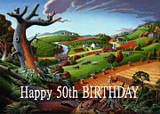 Farm Fields Painting Originals - no9 Happy 50th Birthday by Walt Curlee