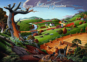 Farm Fields Painting Originals - no9 Happy Birthday Grandma by Walt Curlee