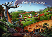 Fall Panorama Paintings - no9 happy Birthday Grandpa by Walt Curlee