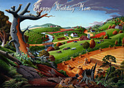 Farm Fields Painting Originals - no9 Happy Birthday Mom by Walt Curlee
