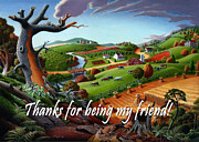 Fall Panorama Paintings - no9 Thank you for being my friend by Walt Curlee
