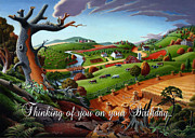 Fall Panorama Paintings - no9 Thinking of you on your Birthday by Walt Curlee