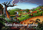 Fall Panorama Paintings - no9 Warm Appalachian greetings by Walt Curlee
