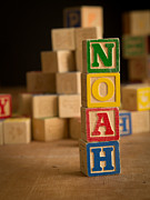 Noah Framed Prints - NOAH - Alphabet Blocks Framed Print by Edward Fielding
