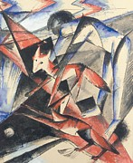Forms Paintings - Noah and the Fox by Franz Marc