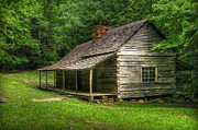 Gatlinburg Tennessee Digital Art Posters - Noah Ogle Cabin Poster by Cindy Haggerty