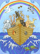 Noah Drawings Prints - Noahs Ark Print by Alison Stein