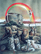 Noah Drawings Prints - Noahs Ark Print by Cati Simon