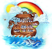 Noah Framed Prints - Noahs Ark Framed Print by Dixie Andrew