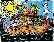 Noah Drawings Prints - Noahs Ark Print by Lucas T   Antoniak