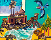 Noah Paintings - Noahs Ark Second Voyage by Susan Culver