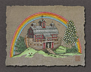 Ark Posters - Noahs Ark With Rainbow Poster by Richard Neuman