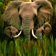 Elephant Grass Framed Prints - Noble Ones Framed Print by Lourry Legarde