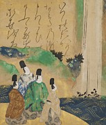 Waterfall Drawings Prints - Nobles Viewing the Nunobiki Waterfall Print by Tawaraya Sotatsu