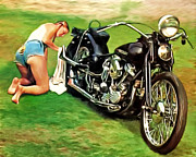 Harley Davidson Paintings - Nobody Rides For Free by Michael Pickett