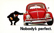Car Ad Digital Art - Nobodys Perfect - Volkswagen Beetle Ad by Nomad Art And  Design