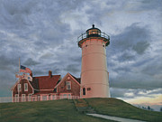 Cape Cod Paintings - Nobska at Sunset by OMalley Keyes