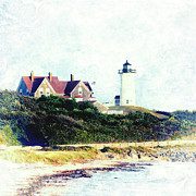 Beauty In Nature Mixed Media Prints - Nobska Lighthouse Cape Cod Massachusetts retro style Print by Marianne Campolongo
