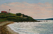 Massachusetts Pastels Posters - Nobska Lighthouse Poster by Joan Swanson