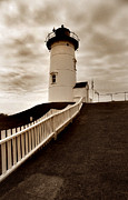 Lighthouse Wall Decor Photo Posters - Nobska Lighthouse Poster by Skip Willits
