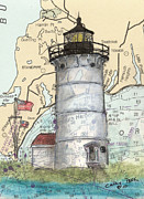 Massachusetts Coast Paintings - Nobska Pt Lighthouse MA Nautical Chart Map Art by Cathy Peek
