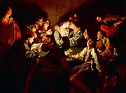 Youth Paintings - Nocturnal concert by Jean  Leclerc