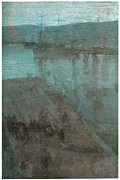 Whistler Painting Posters - Nocturne in blue and Gold Valparaiso Poster by James Abbott McNeill Whistler