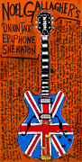 Guitars Paintings - Noel Gallagher Union Jack Epiphone Sheraton by Karl Haglund