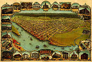 Old Map Paintings - Noes map of Eureka California 1902 by MotionAge Art and Design - Ahmet Asar