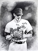 Sports Figure Drawings Posters - Nolan Ryan Poster by Caleb Goodman