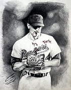 Baseball Drawings - Nolan Ryan Color blood by Caleb Goodman