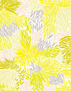 Flower Design Digital Art Prints - Nolita - yellow Print by Khristian Howell
