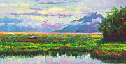 Docked Boat Painting Prints - Nomad - Alaska Landscape with Joe Redingtons boat in Knik Alaska Print by Talya Johnson