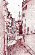 Architecture Drawings Prints - Noon Print by Serge Yudin