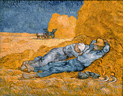 Midday Painting Posters - Noon the siesta after Millais Poster by Vincent van Gogh