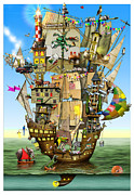 Ship Illustration Framed Prints - Norahs Ark Framed Print by Colin Thompson