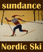 Ski Mixed Media Framed Prints - Nord Ski poster Framed Print by Cami Lee