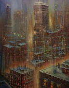 City At Night Paintings - Noreaster New York City by Tom Shropshire