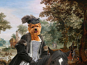 Norfolk; Painting Prints - Norfolk Terrier Art - Landsape with Queen Print by Sandra Sij