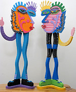 Recycle Art Sculptures - Norma and Norman by Keri Joy Colestock