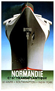 Passenger Mixed Media Prints - Normandie Transatlantique Advertising Poster Print by Gary Perron