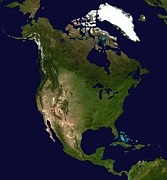 North America Photos - North America satellite image  by Anonymous