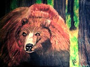 Grizzly Pastels Prints - North American  Grizzly Bear Print by Jo-Ann Hayden